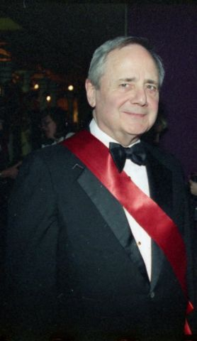 """Henry Hawley at the opening gala for the exhibition """"Faberge in America"""", 1997"""