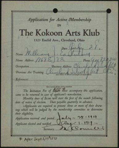 Kokoon Arts Club membership application for William J. Eastman