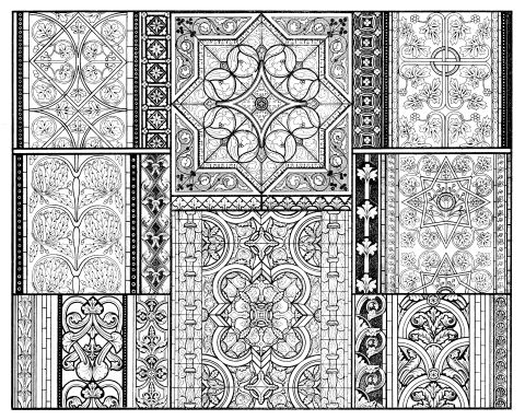 Intricately patterned glass design.